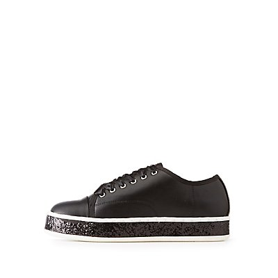 Qupid Satin Lace-Up Sneakers