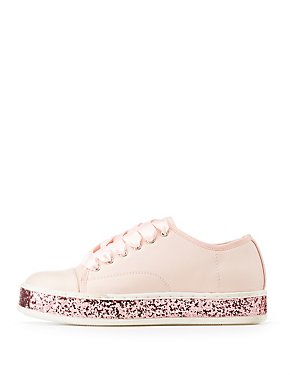 Qupid Satin Lace-Up Glitter-Detailed Sneakers