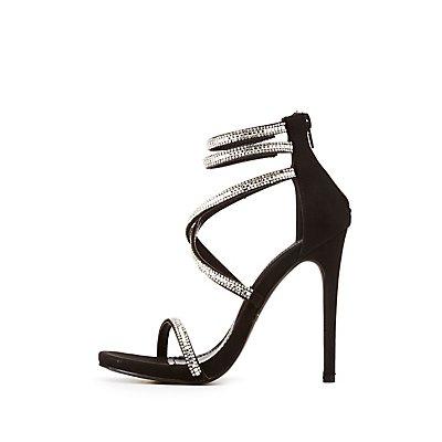Rhinestone Double Ankle Strap Dress Sandals