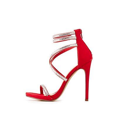 Rhinestone Ankle Strap Dress Sandals