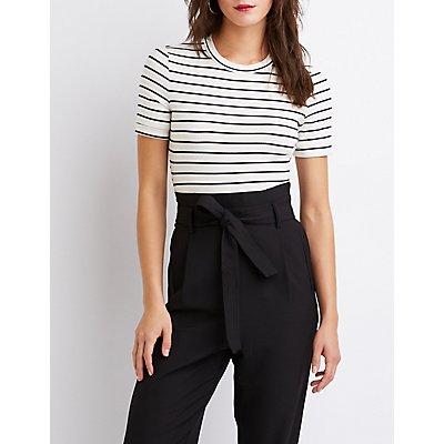 Striped Ribbed Knit Bodysuit