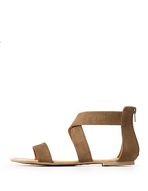 Faux Suede Crossed Ankle Wrap Sandals
