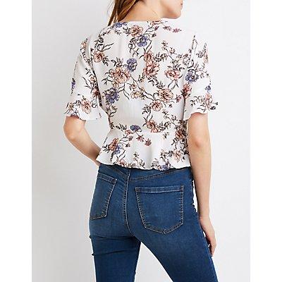 Floral Kimono Sleeve Tie-Front Top