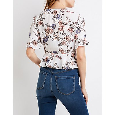 Floral Kimono Sleeve Tie-Front Top