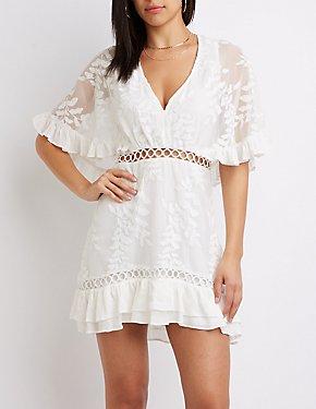 Crochet V-Neck Shift Dress