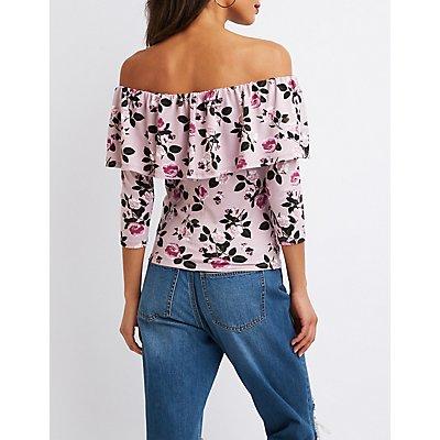 Floral Print Ruflfle Off-The-Shoulder Top