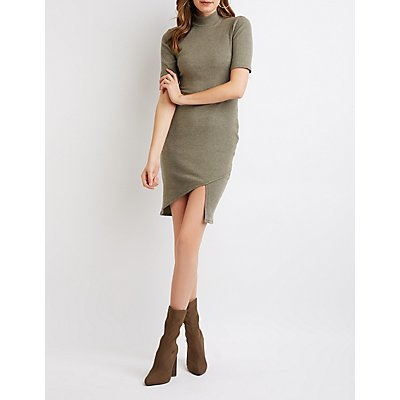 Mock Neck Ribbed Bodycon Dress