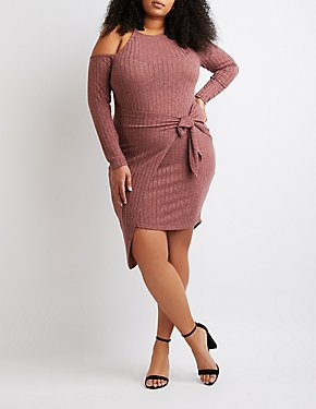 Plus Size Ribbed Front-Tie Dress