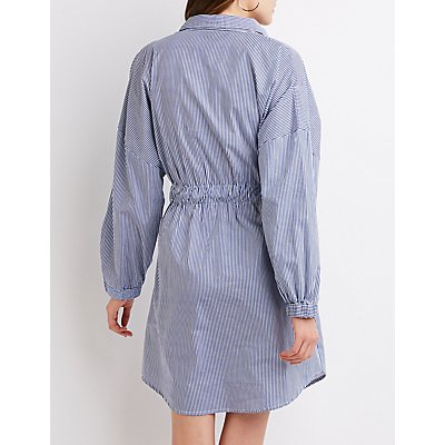 Striped Tie-Front Shift Dress