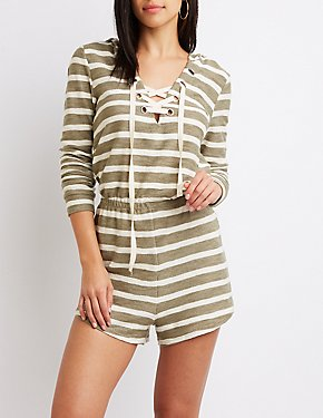 Striped Lace-Up Hoodie Romper