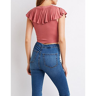 Ruffle-Trim Lace-Up Top