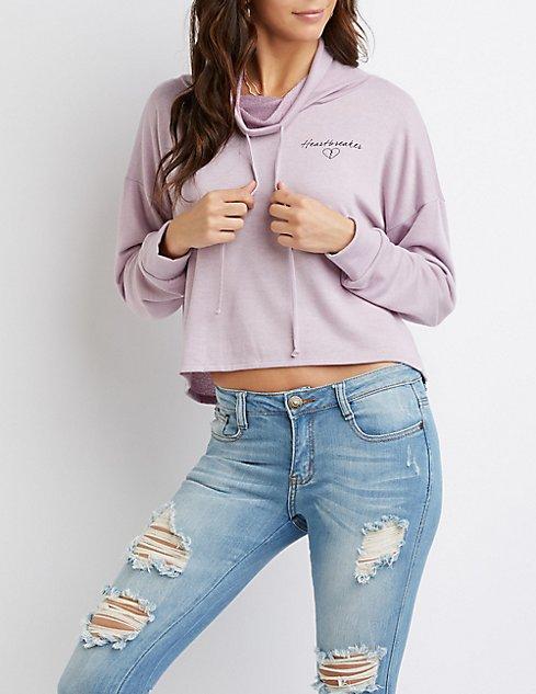 Heartbreaker Cowl Neck Drawstring Pullover Sweater | Charlotte Russe