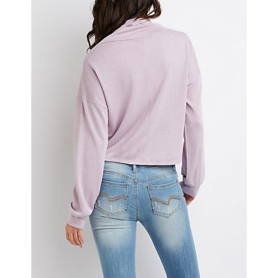 Heartbreaker Cowl Neck Drawstring Pullover Sweater