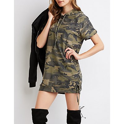 Camo Print Hooded Sweatshirt Dress