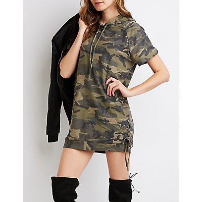 Camo Print Hooded Sweatshirt Dress