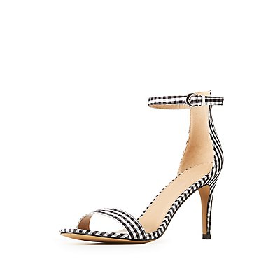 Gingham Ankle Strap Dress Sandals