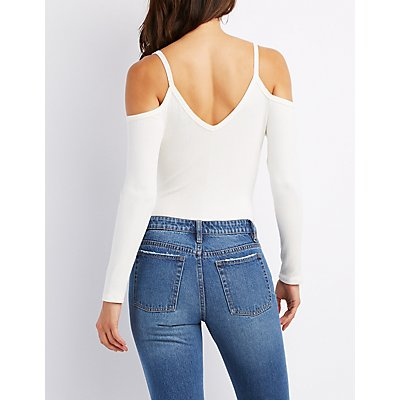 Ribbed Knit Cold Shoulder Bodysuit
