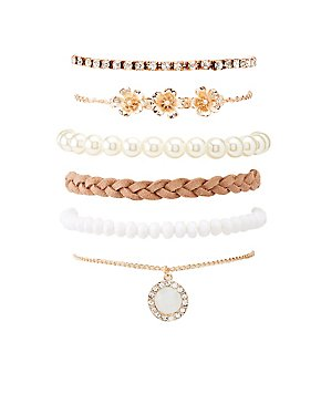Crystal & Faux Pearl Stretch Bracelets - 6 Pack