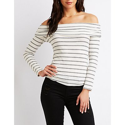 Ribbed Off-The-Shoulder Striped Top