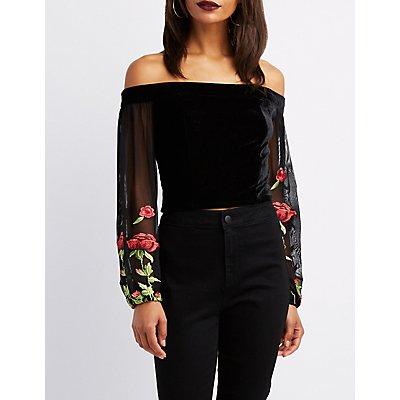 Velvet Off-The-Shoulder Floral Sleeve Top