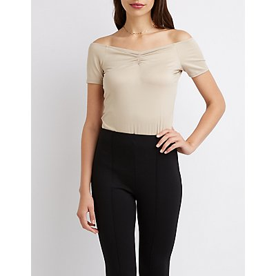 Ruched Front Off-The-Shoulder Crop Top