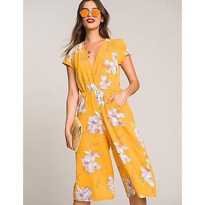 Floral Wrap Keyhole Jumpsuit