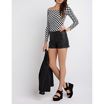 Coated Faux Leather Shorts