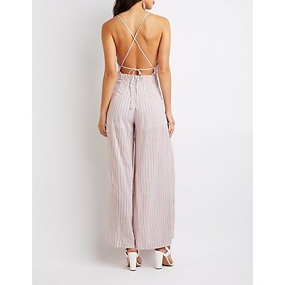 Striped Cut-Out Jumpsuit