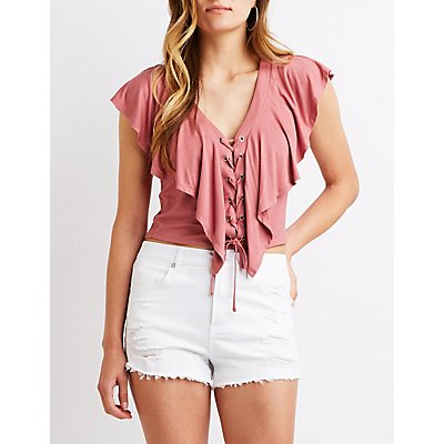 Ruffle Lace-Up Top