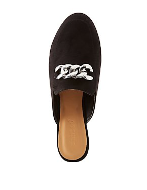Faux Suede Chainlink Slip-On Slides