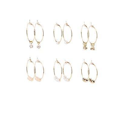 Embellished Beaded Hoop Earrings - 6 Pack