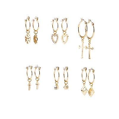 Crystal Charmed Hoop Earrings - 6 Pack