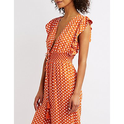 Polka Dot V-Neck Smocked Jumpsuit