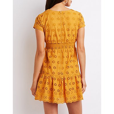 Eyelet Ruffle Skater Dress