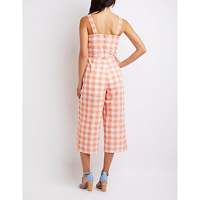 Plaid Lace-Up Jumpsuit