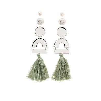 Geometric Stud & Fringe Earrings - 3 Pack