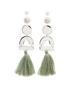 Geometric Stud & Fringe Earrings - 3 Pack