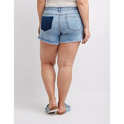 Plus Size Destroyed Hi-Rise Denim Shorts