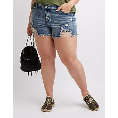 Plus Size Destroyed Hi-Rise Denim Shorts