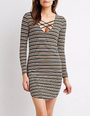 Striped & Caged Bodycon Dress