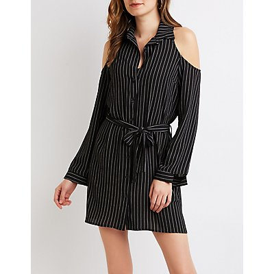 Striped Button-Up Cold Shoulder Shirt Dress