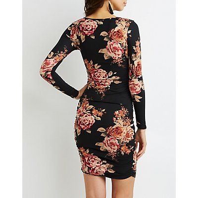 Floral Scoop Neck Ruched Dress
