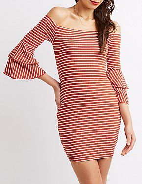 Striped Off-The-Shoulder Ruffle Bell Sleeve Dress