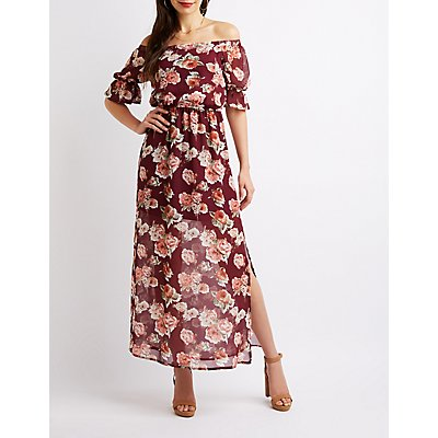 Floral Off-The-Shoulder Flutter Sleeve Maxi Dress