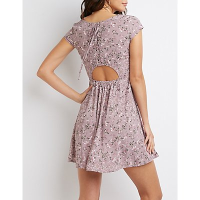 Floral Lace-Up Skater Dress