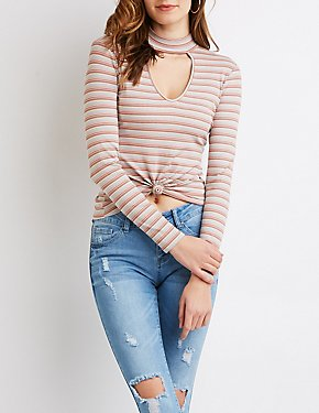 Striped Choker Neck Cut-Out Top