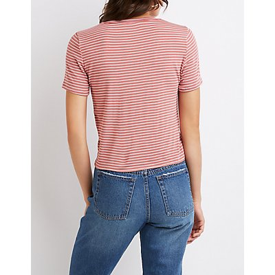 Striped Knot-Front Tee