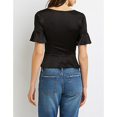 Satin Ruched Bell Short Sleeve Top
