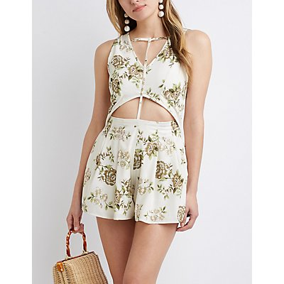 Floral Cut Out Romper