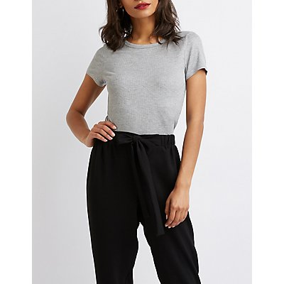 Ribbed Knit Fitted Tee
